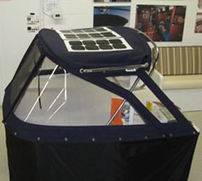 solar panel on canvas boat cover