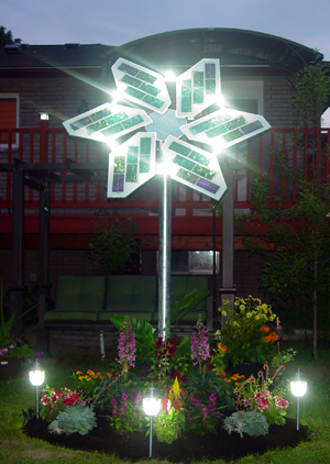 solar flower at night